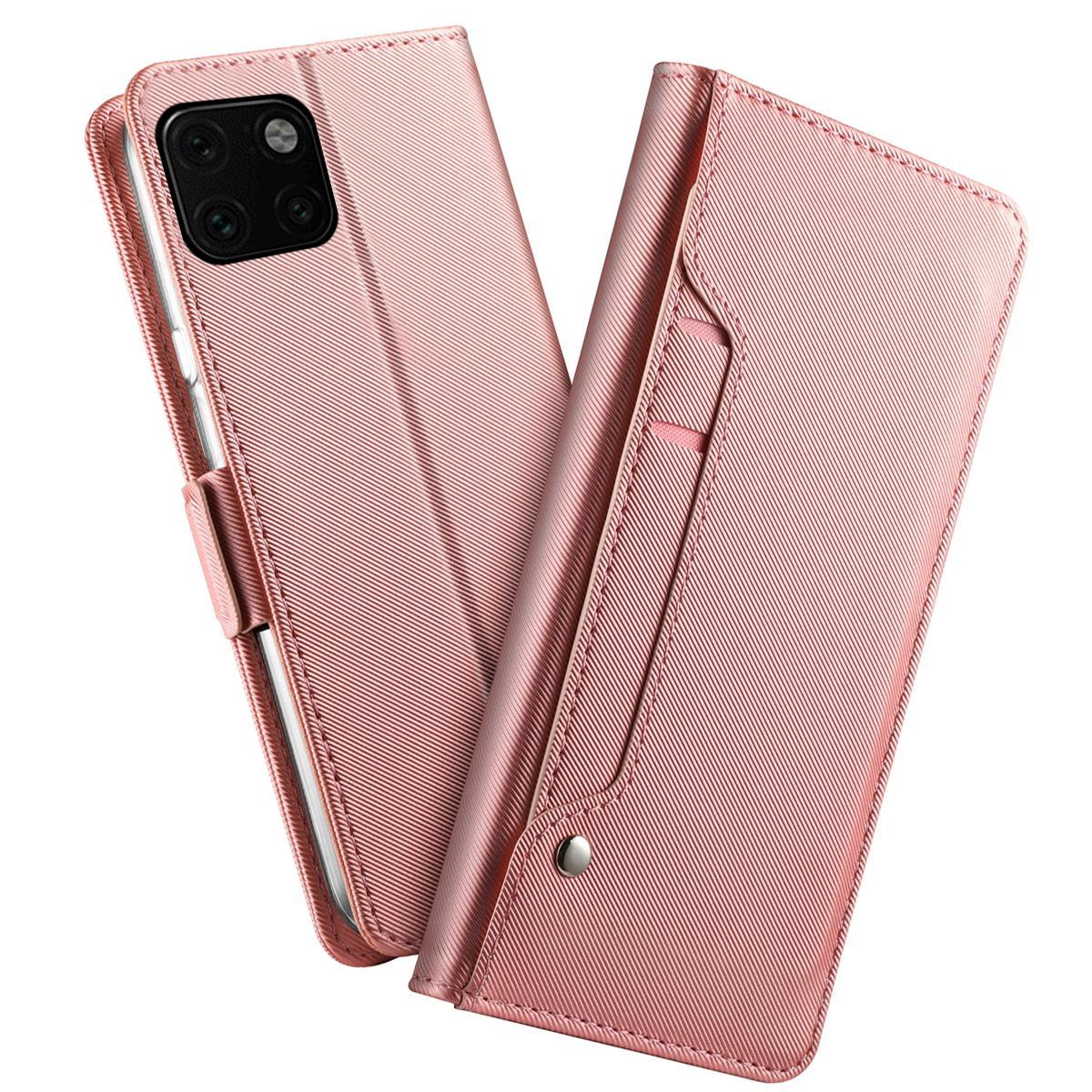 Plånboksfodral Spegel iPhone 11 Pro Max Rosa Guld