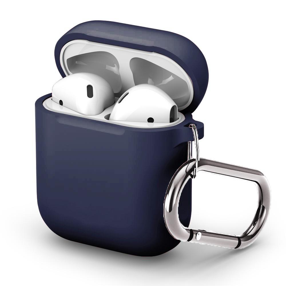Silikonskal med karbinhake Apple AirPods marinblå