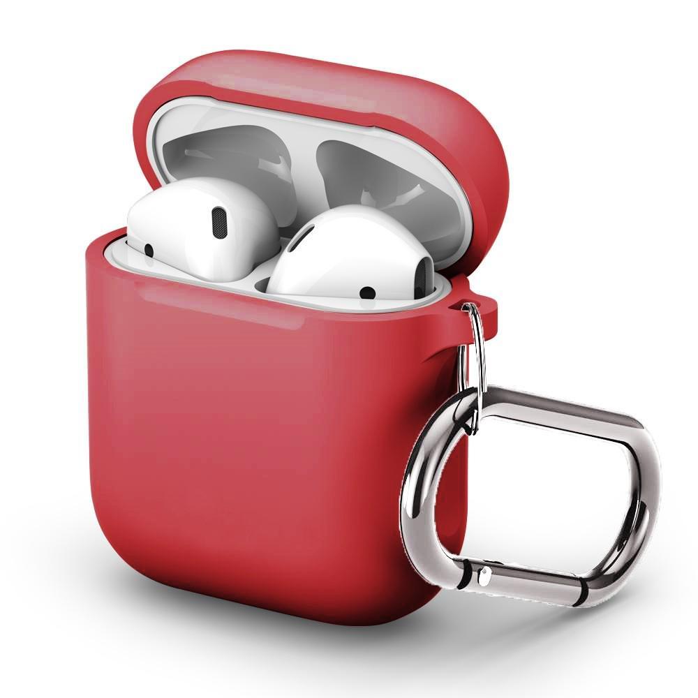 Silikonskal med karbinhake Apple AirPods röd
