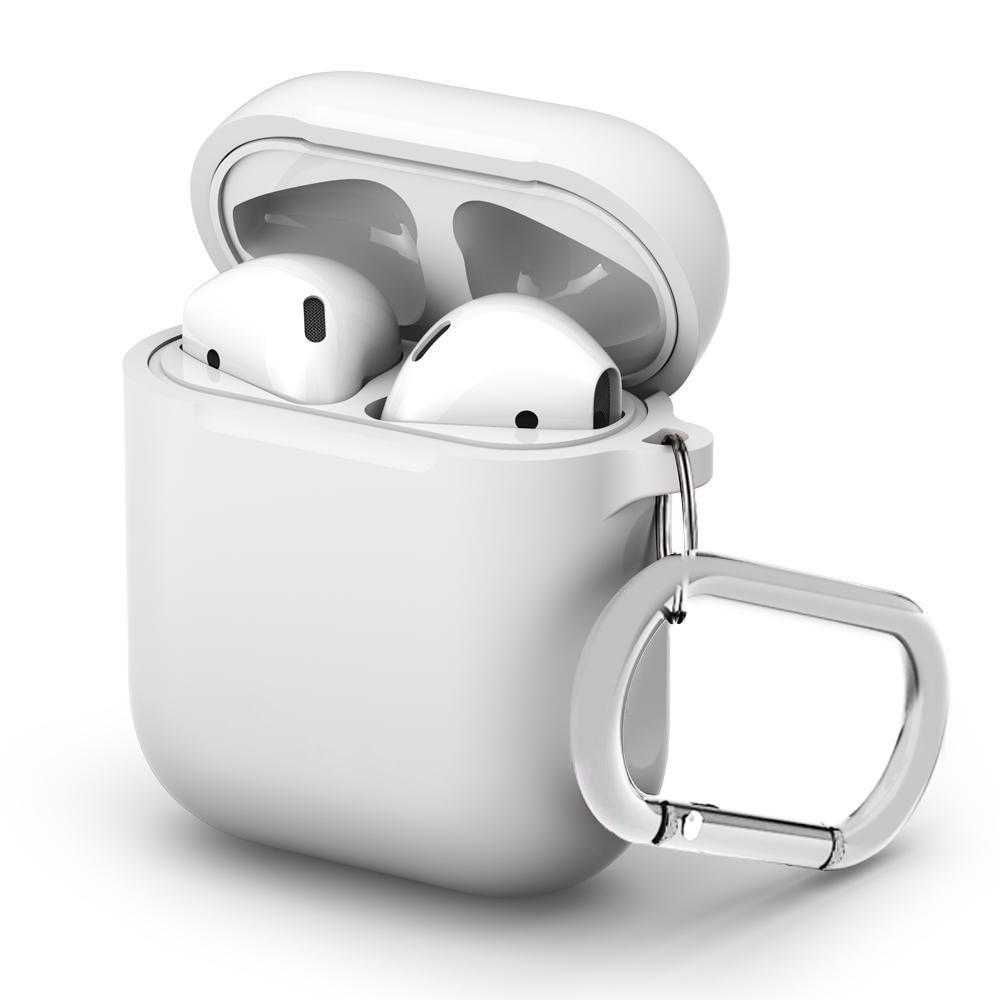 Silikonskal med karbinhake Apple AirPods vit