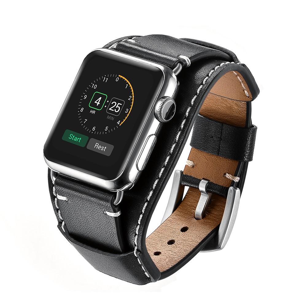 Brett Läderarmband Apple Watch 42/44/45 mm svart