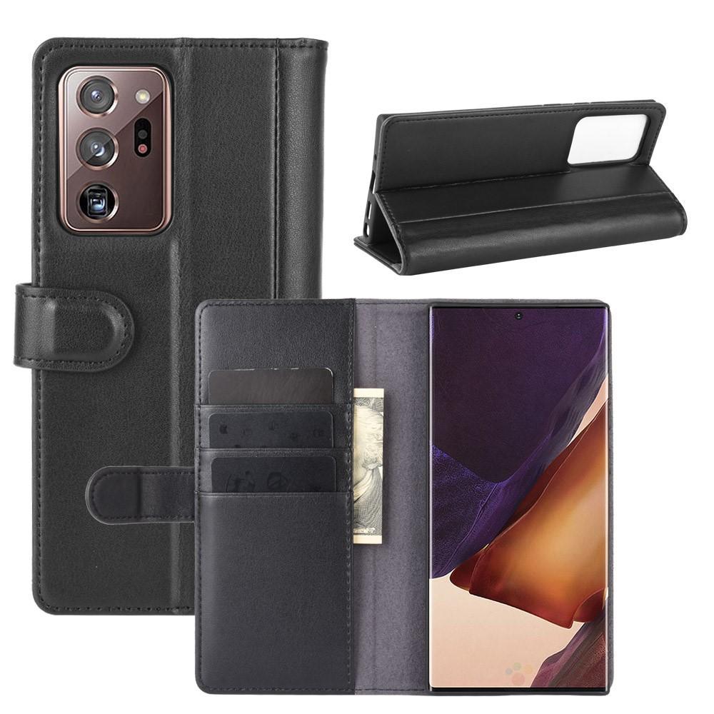 Äkta Läderfodral Galaxy Note 20 svart