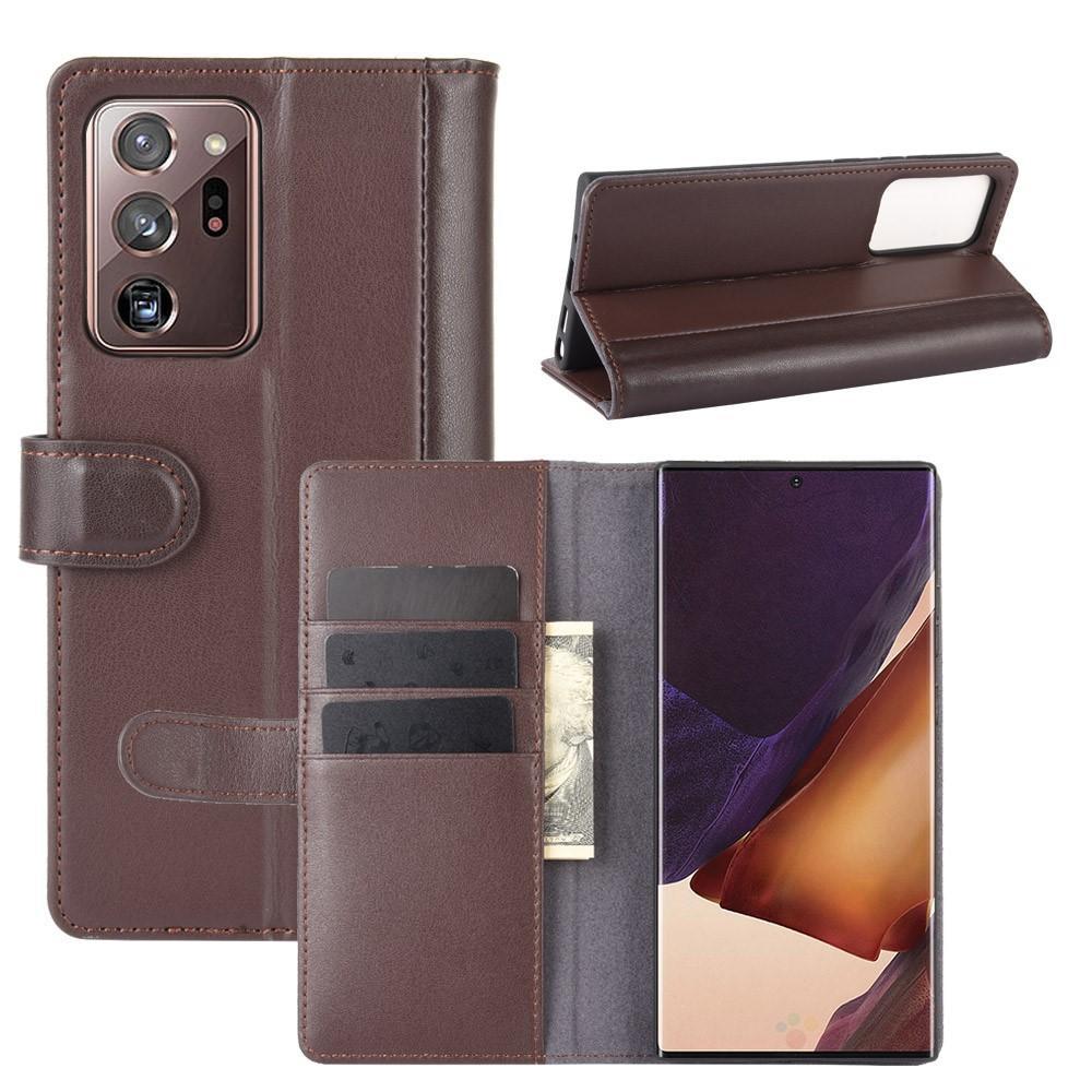 Äkta Läderfodral Galaxy Note 20 Ultra brun
