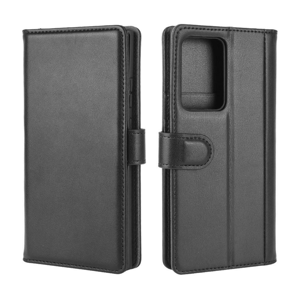 Äkta Läderfodral Galaxy Note 20 Ultra svart