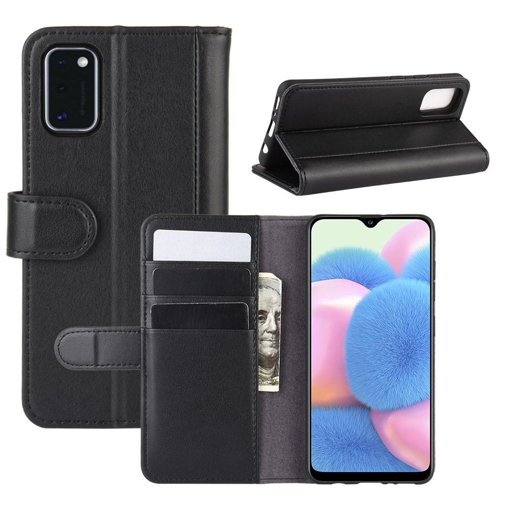 Äkta Läderfodral Samsung Galaxy A41 svart