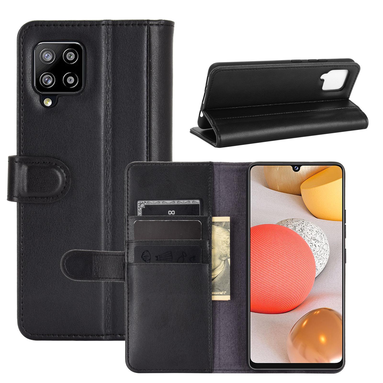 Äkta Läderfodral Samsung Galaxy A42 5G svart