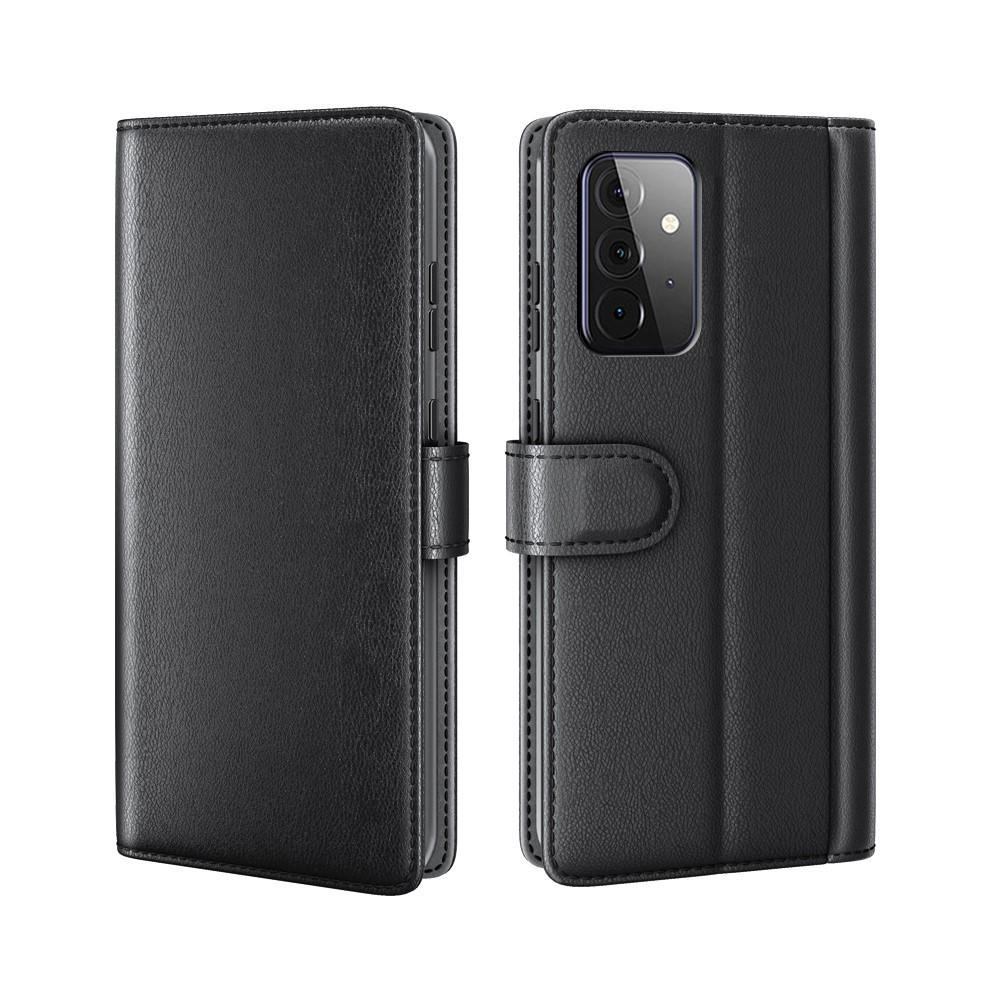 Äkta Läderfodral Samsung Galaxy A72 5G svart
