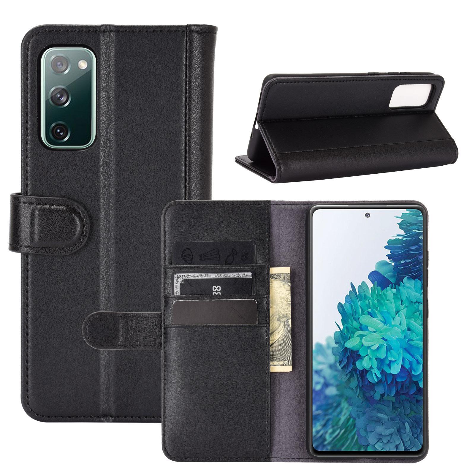 Äkta Läderfodral Samsung Galaxy S20 FE svart