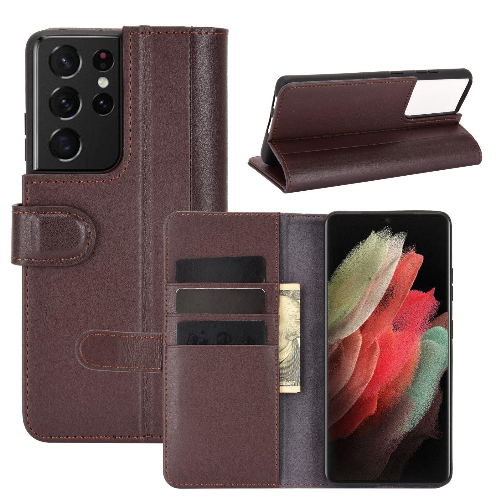 Äkta Läderfodral Samsung Galaxy S21 Ultra brun