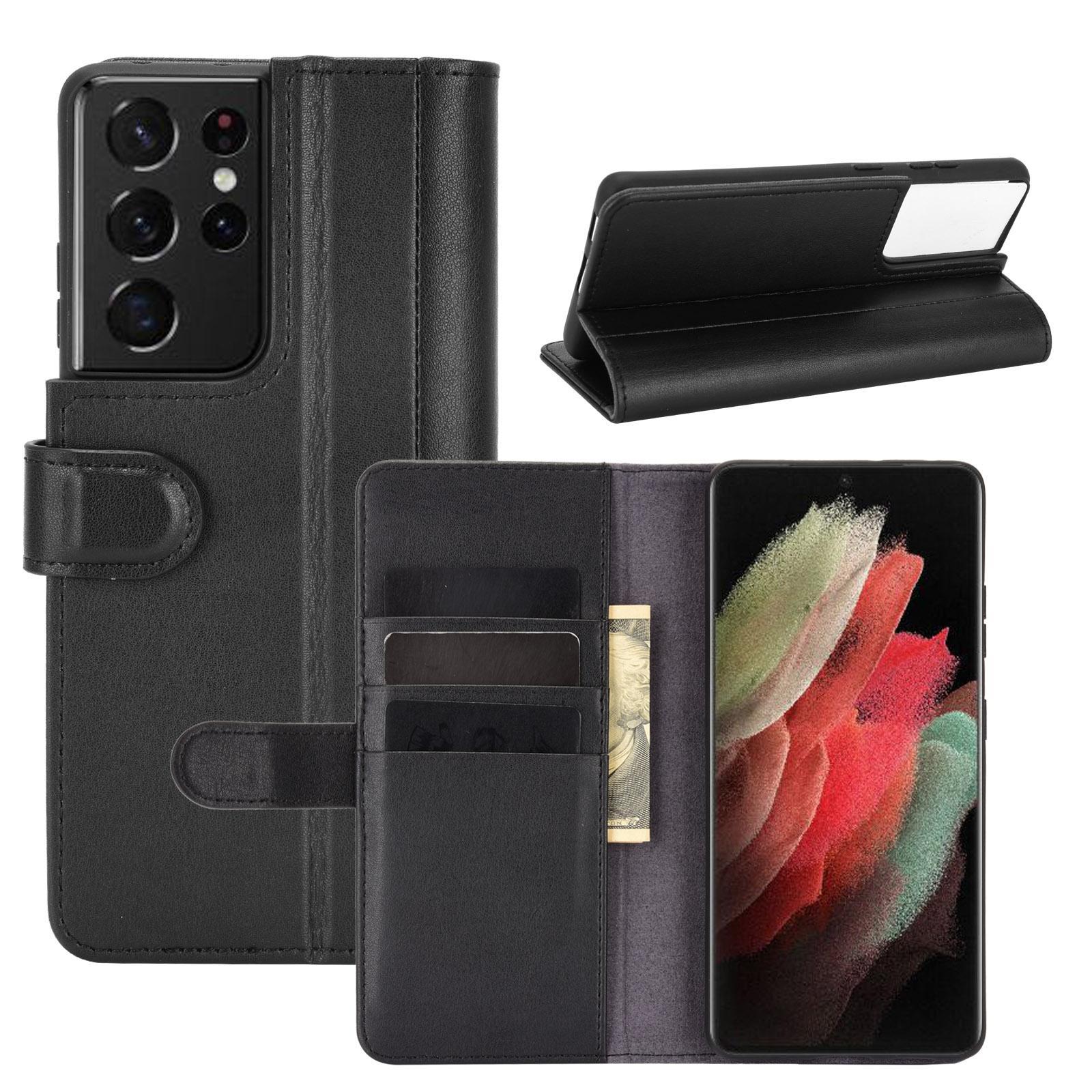 Äkta Läderfodral Samsung Galaxy S21 Ultra svart
