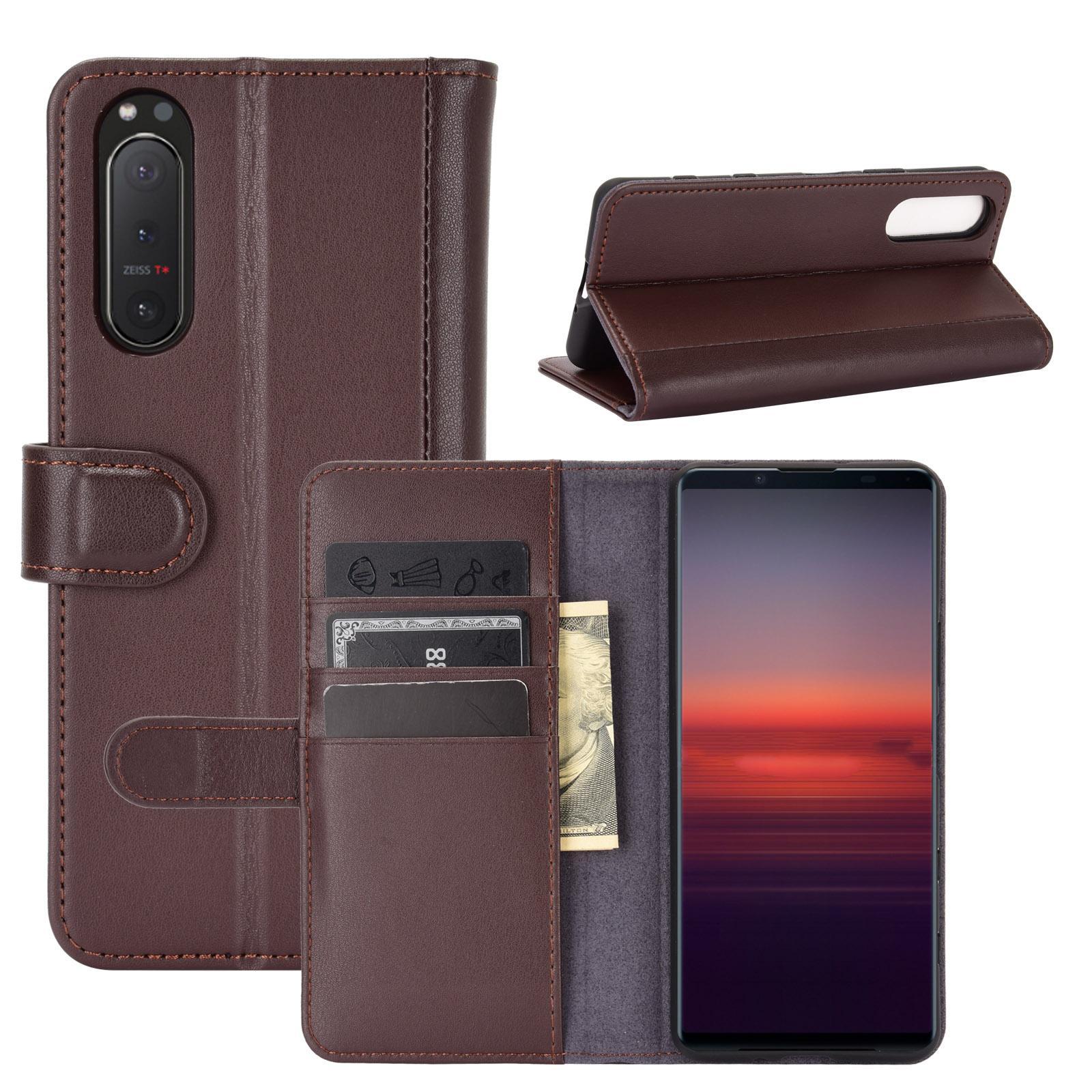 Äkta Läderfodral Sony Xperia 5 II brun