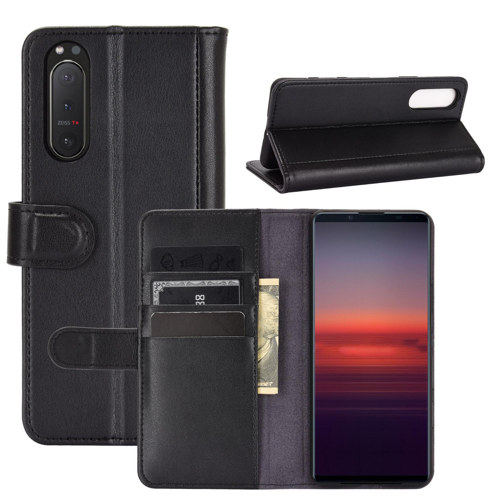 Äkta Läderfodral Sony Xperia 5 II svart