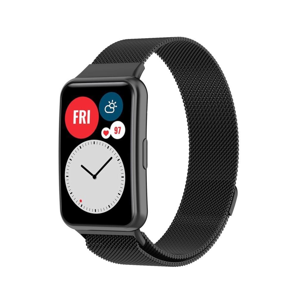 Armband Milanese Huawei Watch Fit svart