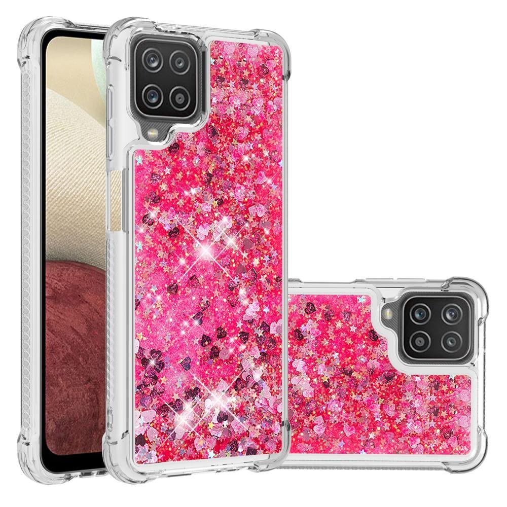 Glitter Powder TPU Case Galaxy A12 röd
