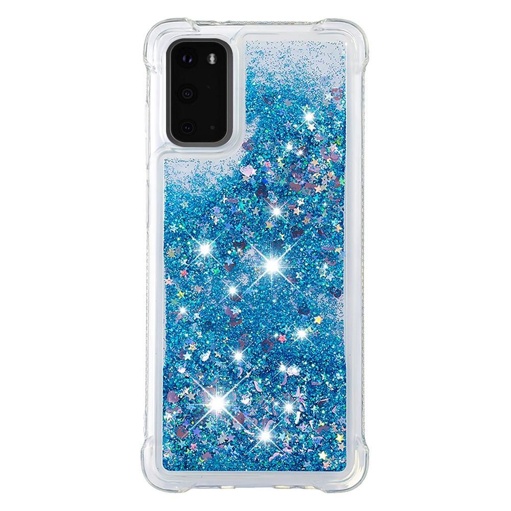 Glitter Powder TPU Case Galaxy S20 Blå