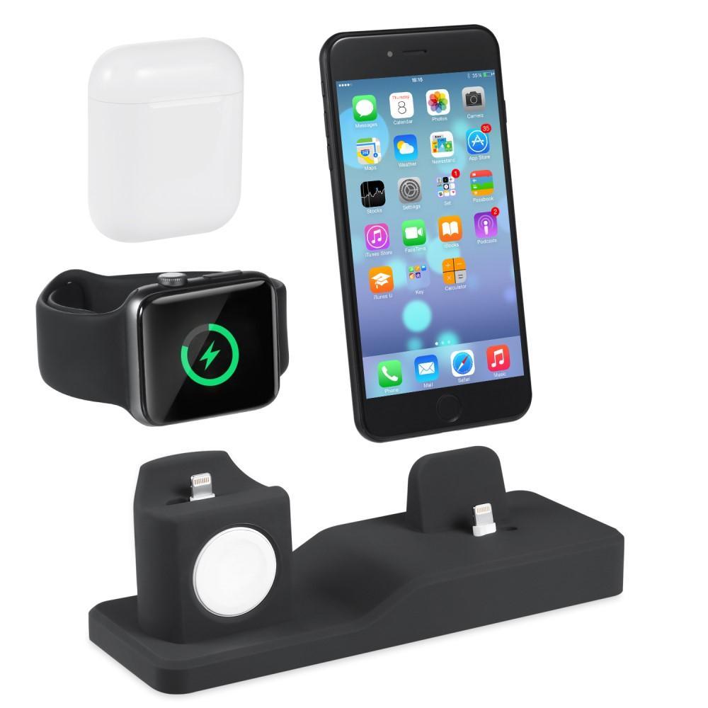 Laddningsställ 3-i-1 Apple AirPods/Watch/iPhone svart