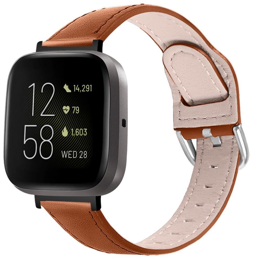 Läderarmband Fitbit Versa 3/Sense brun