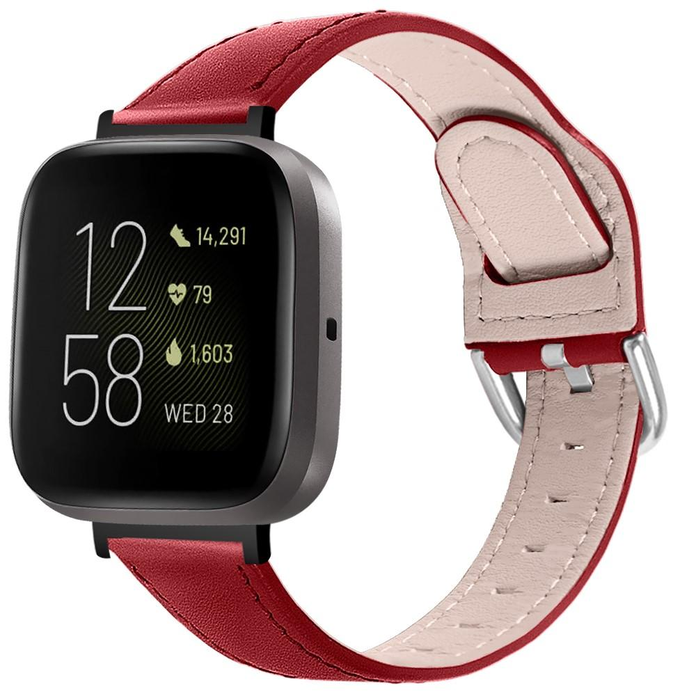 Läderarmband Fitbit Versa 3/Sense röd