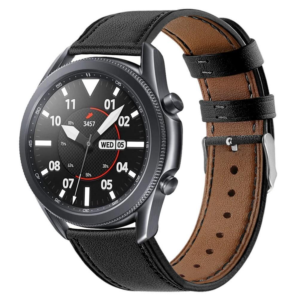 Läderarmband Samsung Galaxy Watch 3 45mm svart