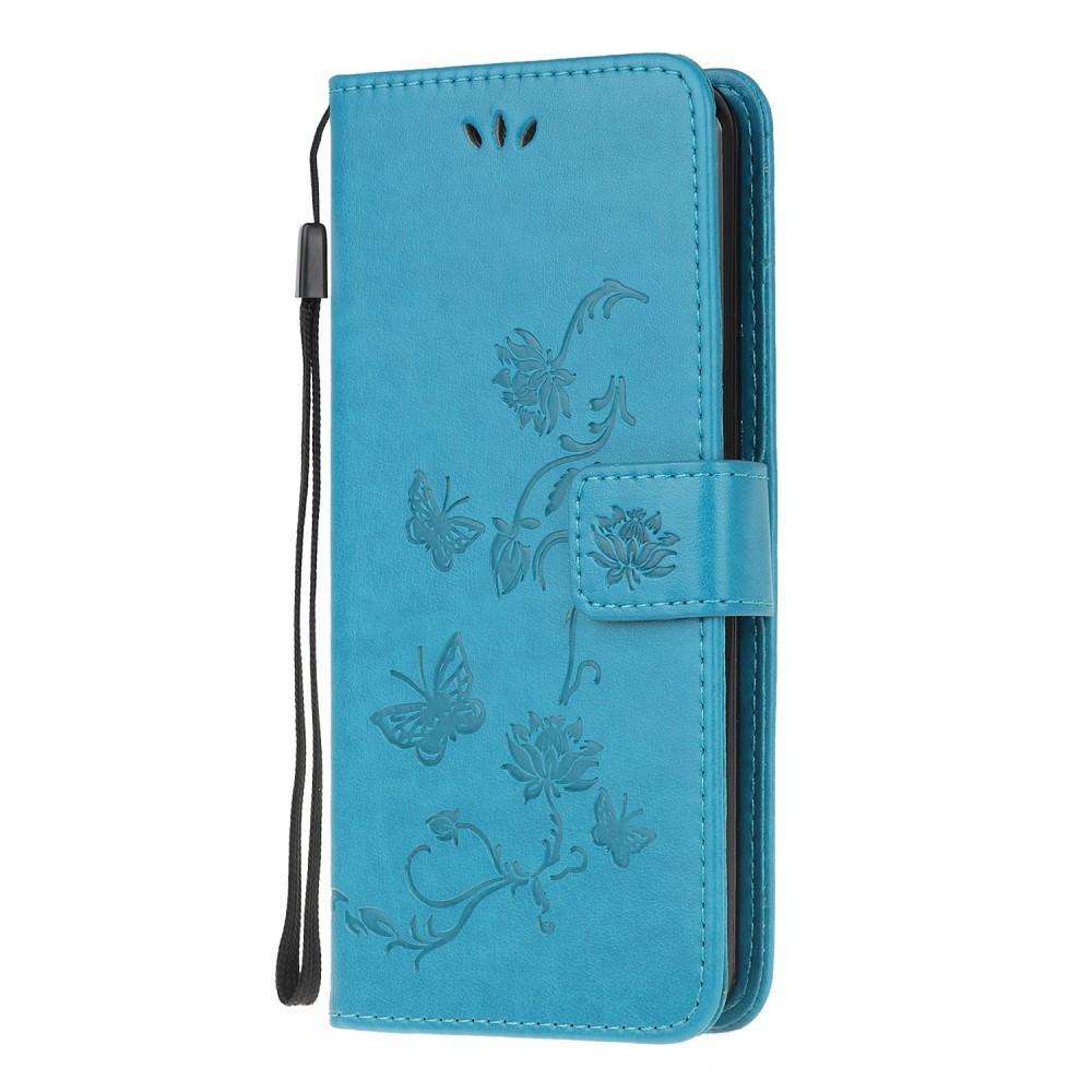 Läderfodral Fjärilar Galaxy Note 20 Ultra blå