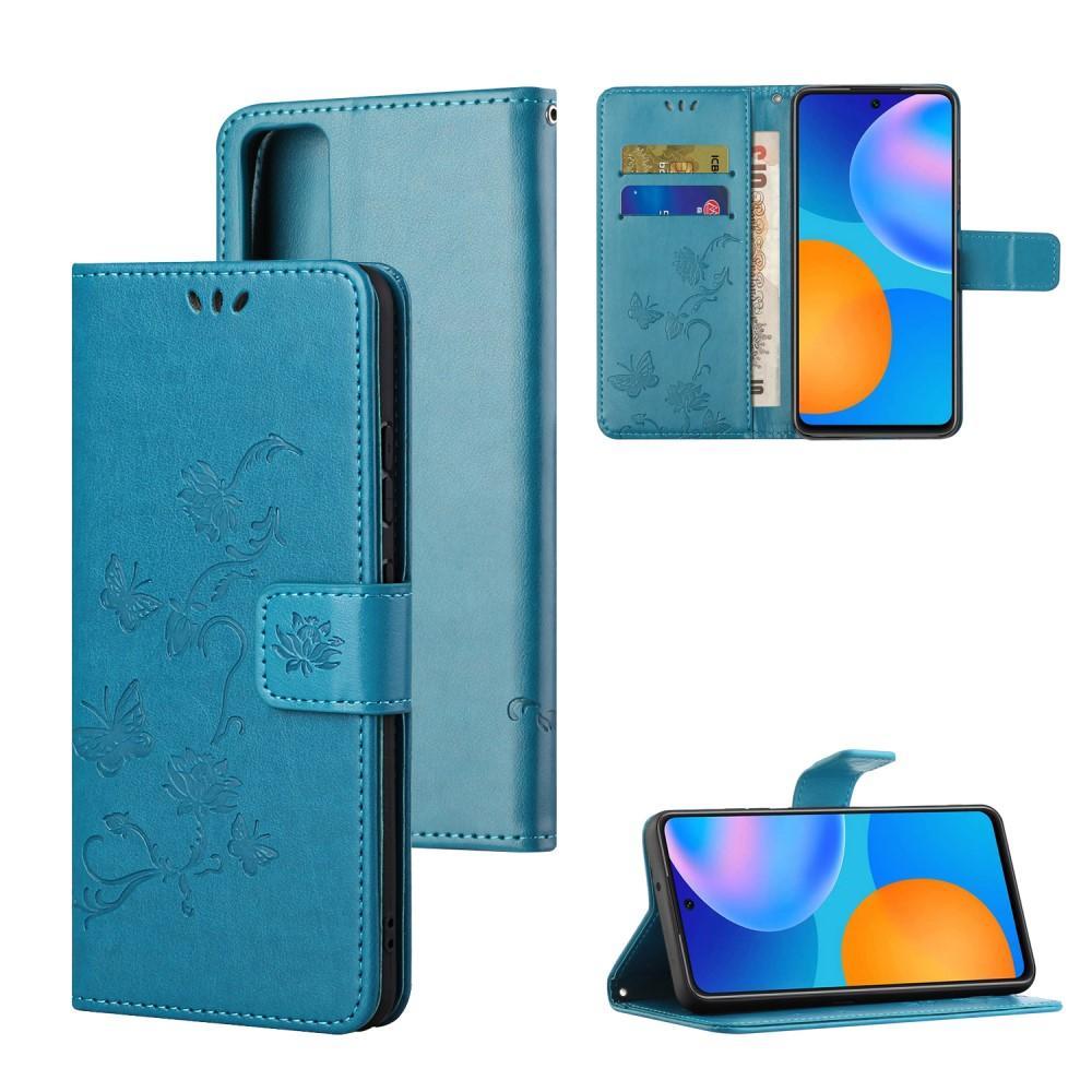 Läderfodral Fjärilar Huawei P Smart 2021 blå