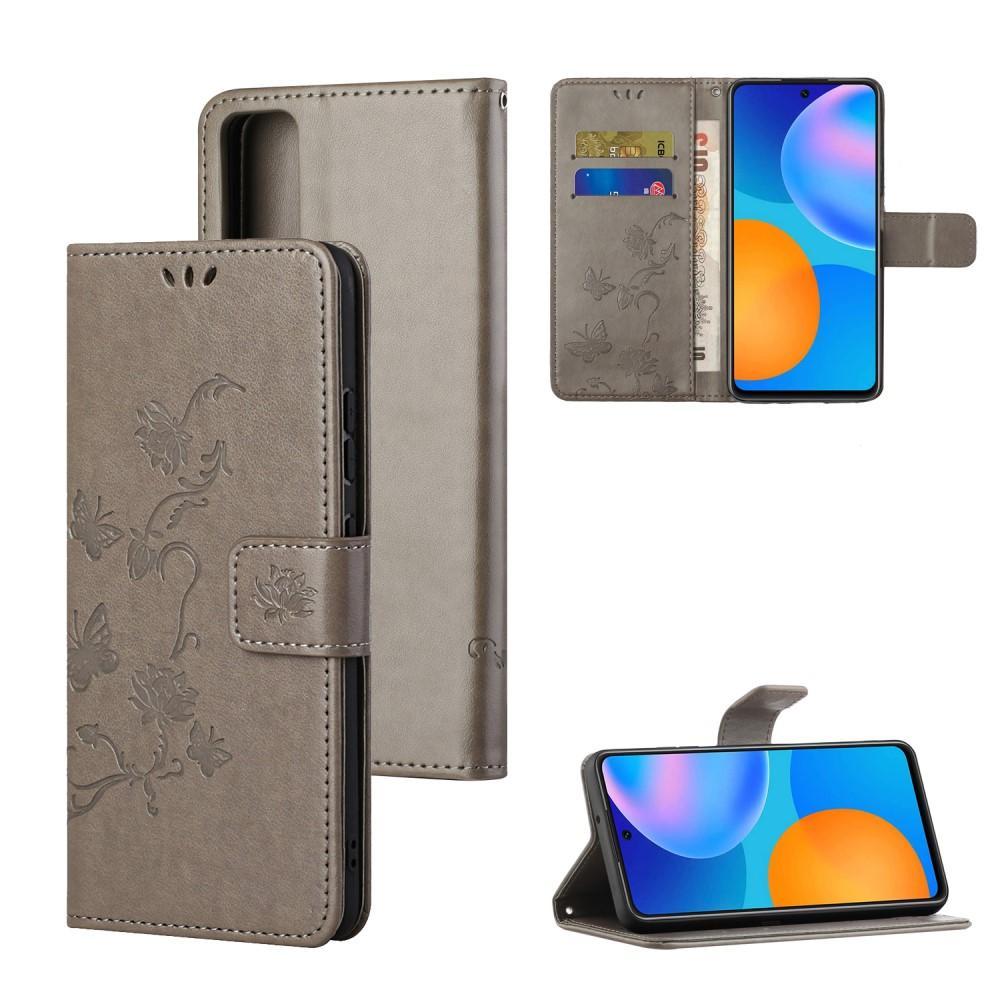 Läderfodral Fjärilar Huawei P Smart 2021 grå