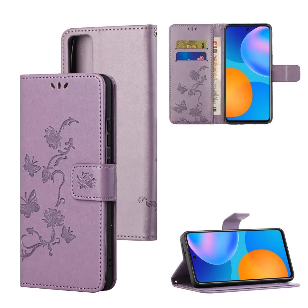 Läderfodral Fjärilar Huawei P Smart 2021 lila
