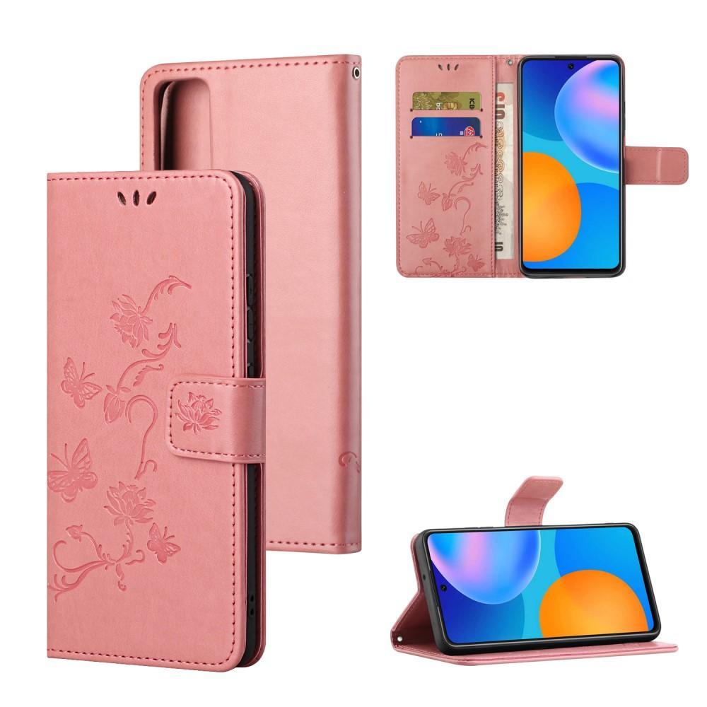 Läderfodral Fjärilar Huawei P Smart 2021 rosa