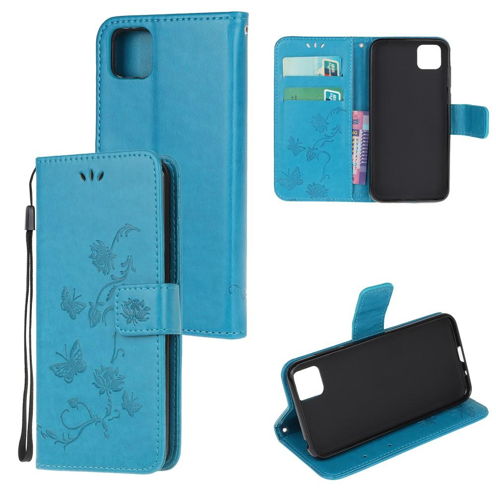 Läderfodral Fjärilar Huawei Y5p blå