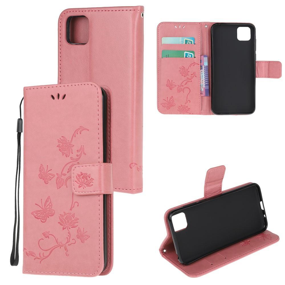 Läderfodral Fjärilar Huawei Y5p rosa