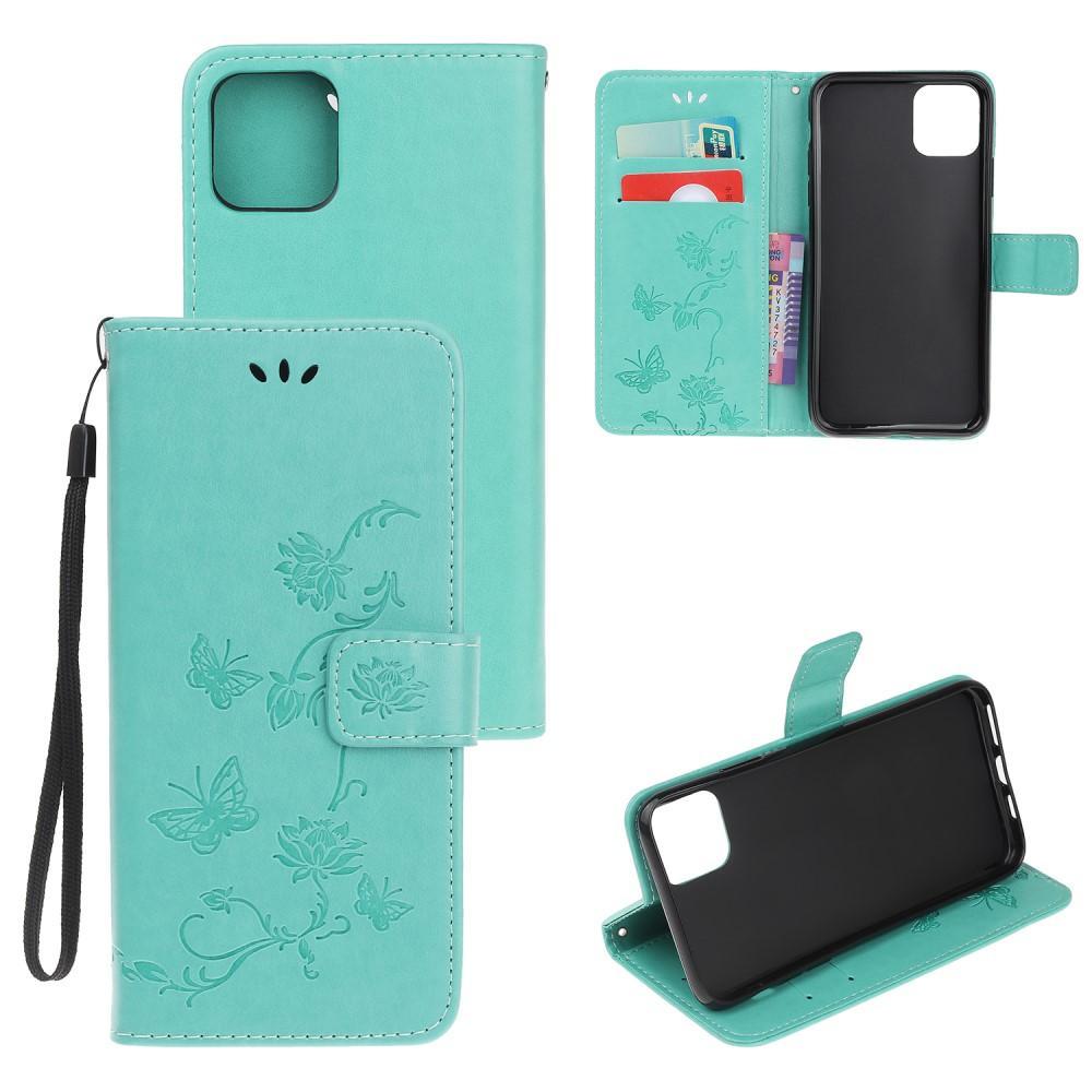 Läderfodral Fjärilar iPhone 12 Mini grön