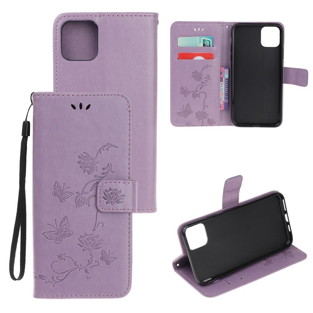 Läderfodral Fjärilar iPhone 12/12 Pro lila