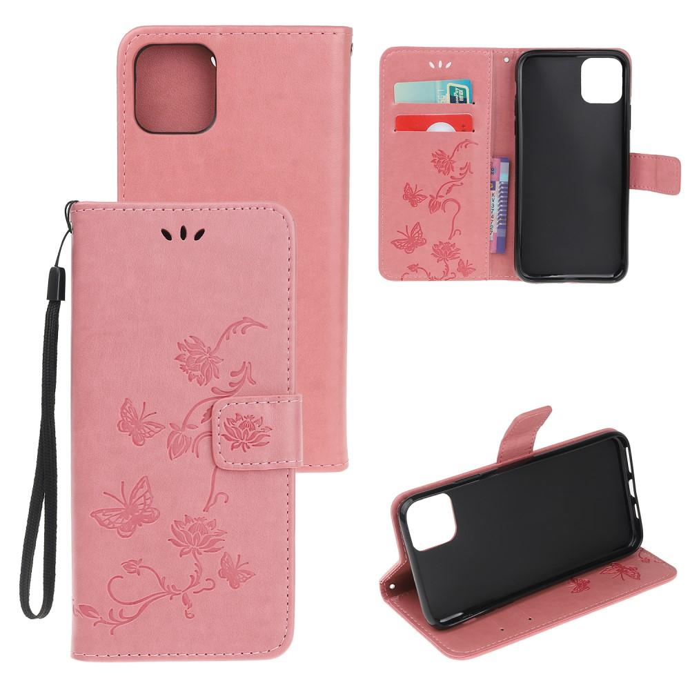 Läderfodral Fjärilar iPhone 12 Mini rosa