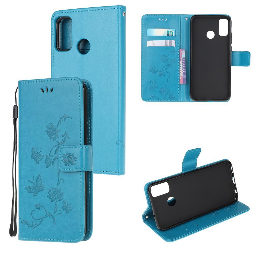 Läderfodral Fjärilar Motorola Moto G50 blå