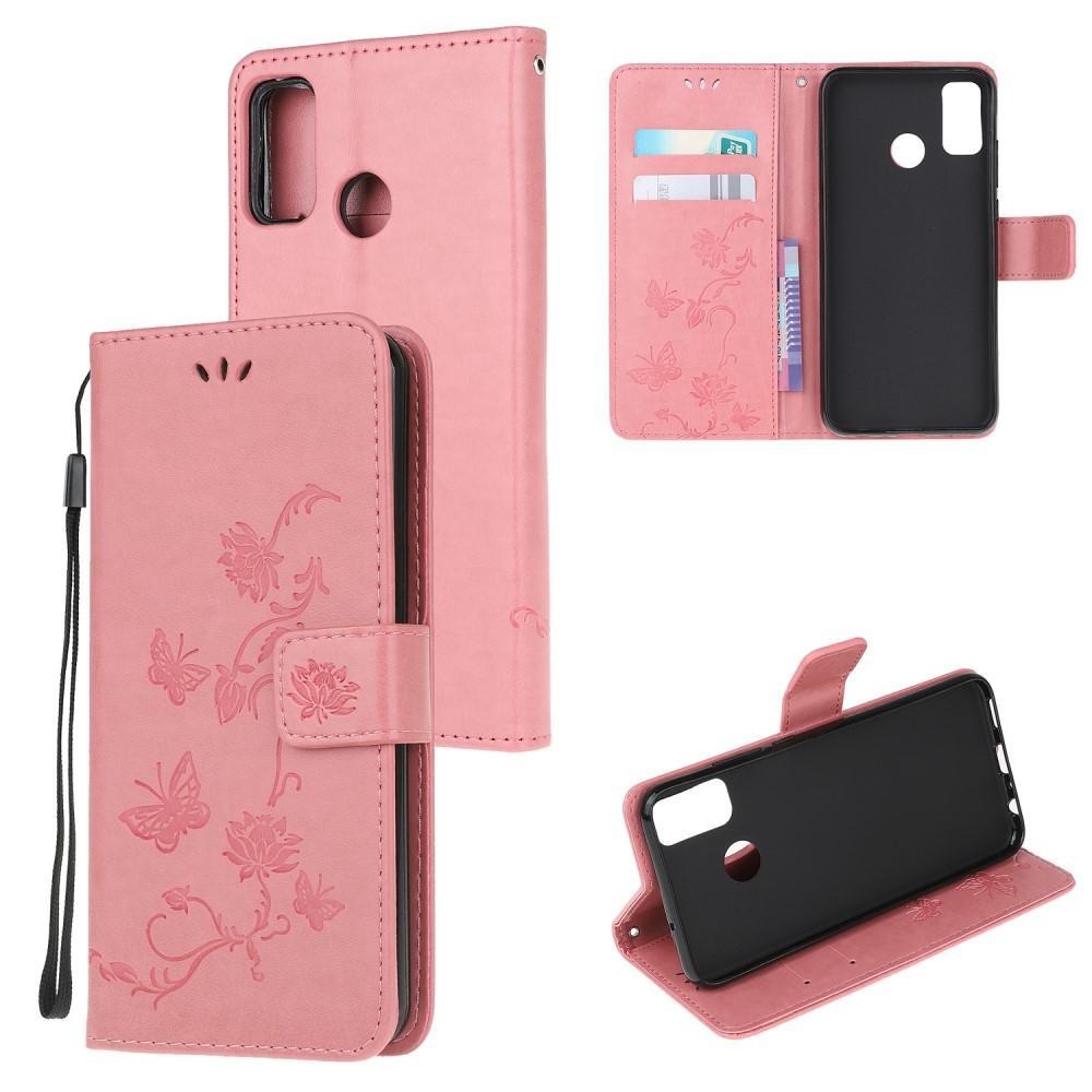 Läderfodral Fjärilar Motorola Moto G50 rosa