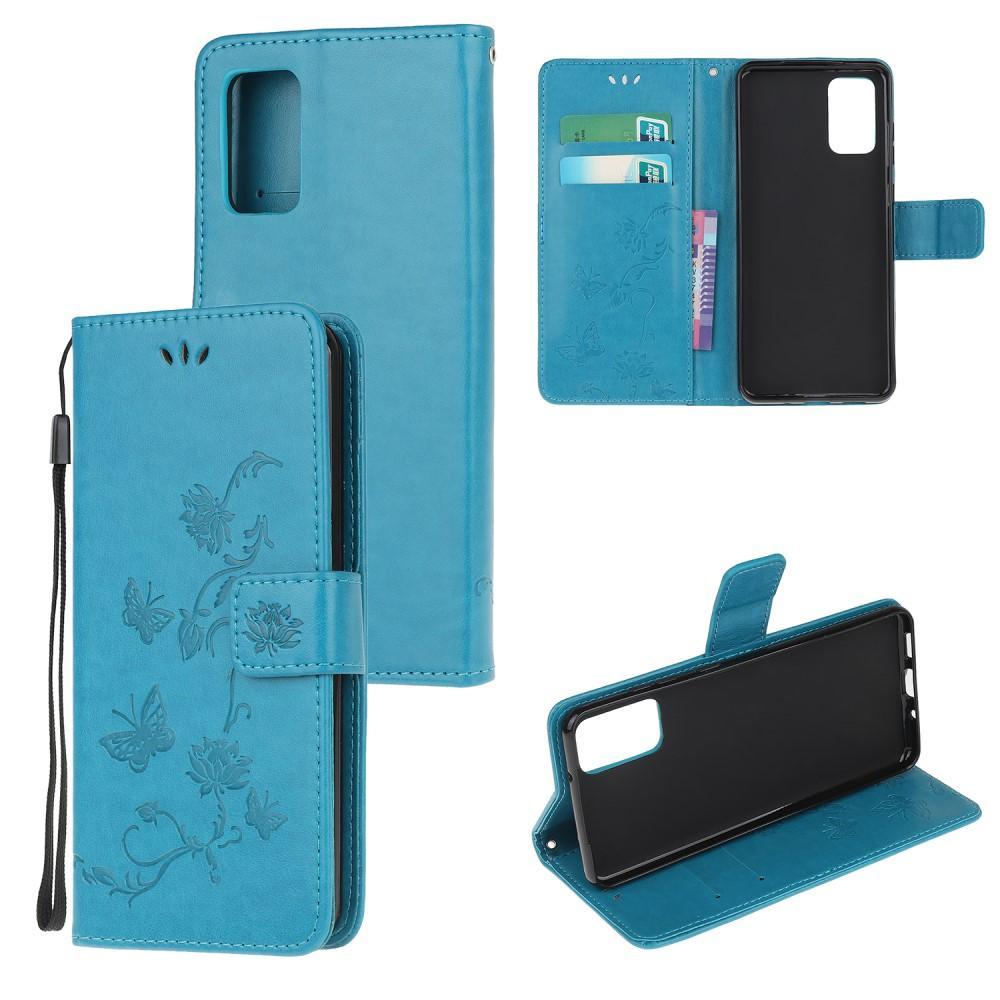 Läderfodral Fjärilar Motorola Moto G9 Plus blå