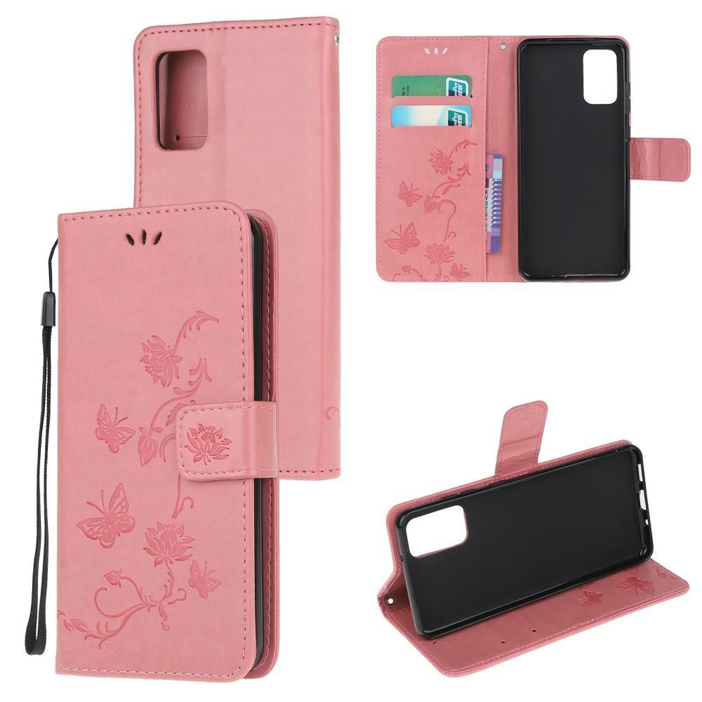 Läderfodral Fjärilar Motorola Moto G9 Plus rosa