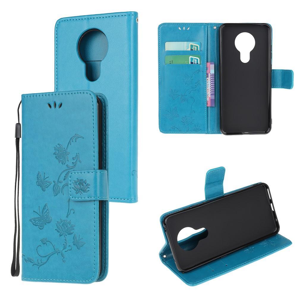 Läderfodral Fjärilar Nokia 5.3 blå