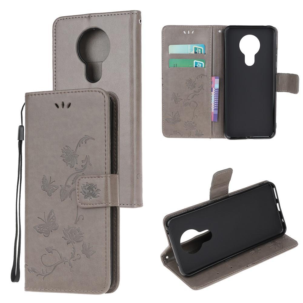 Läderfodral Fjärilar Nokia 5.3 grå