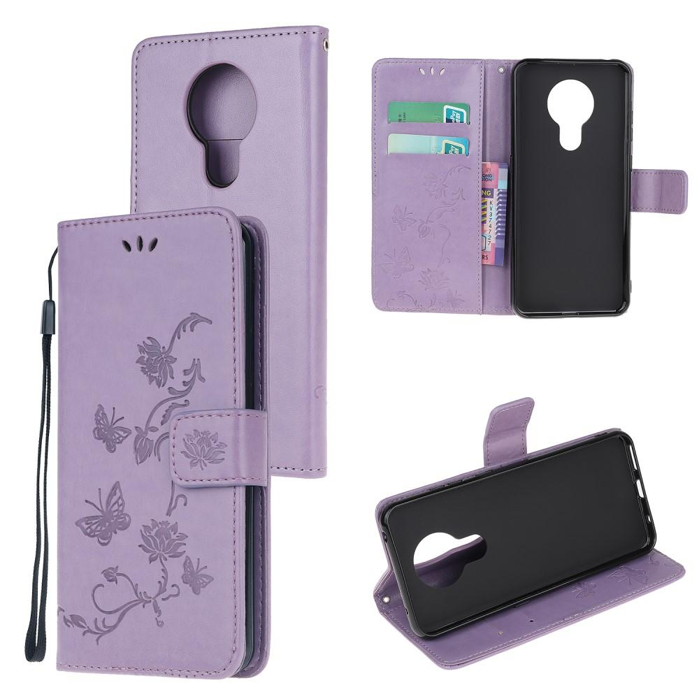 Läderfodral Fjärilar Nokia 5.3 lila