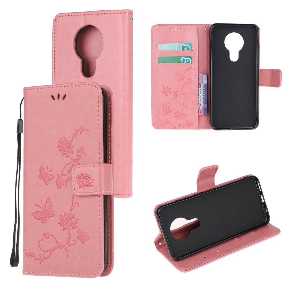 Läderfodral Fjärilar Nokia 5.3 rosa
