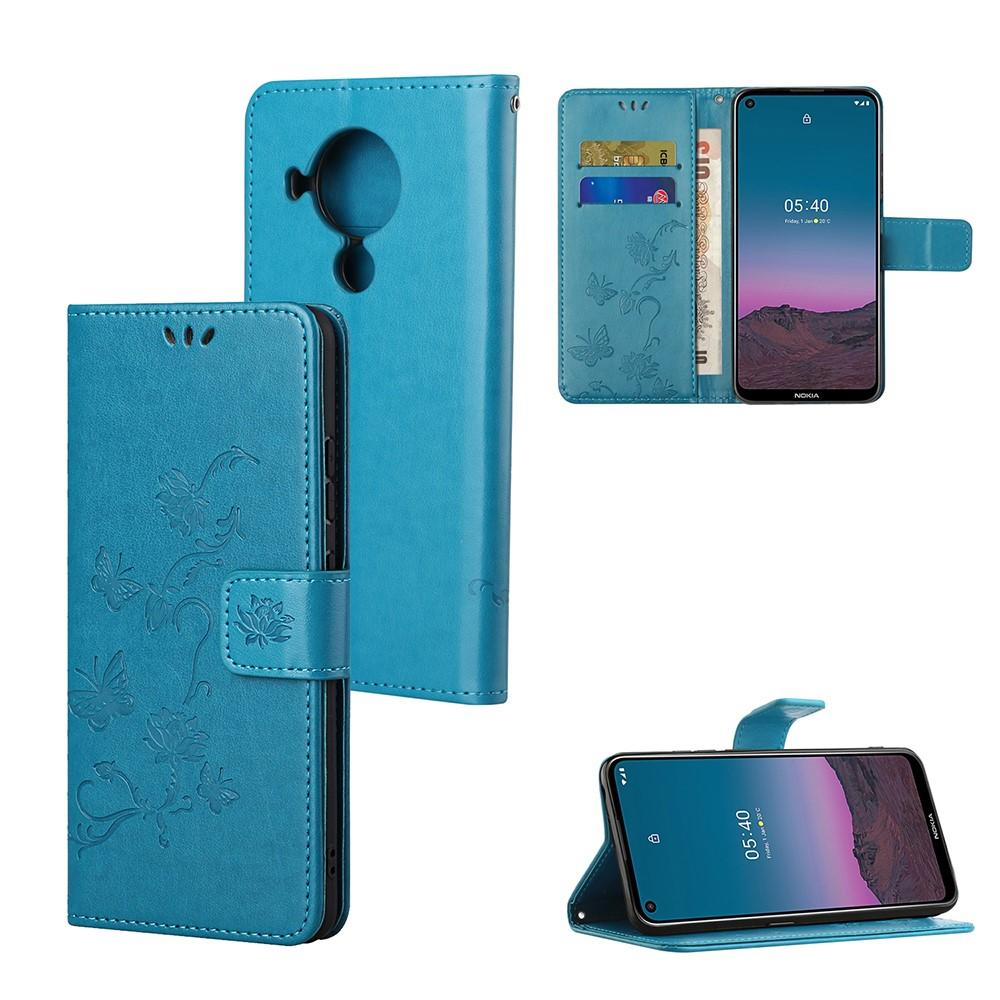 Läderfodral Fjärilar Nokia 5.4 blå