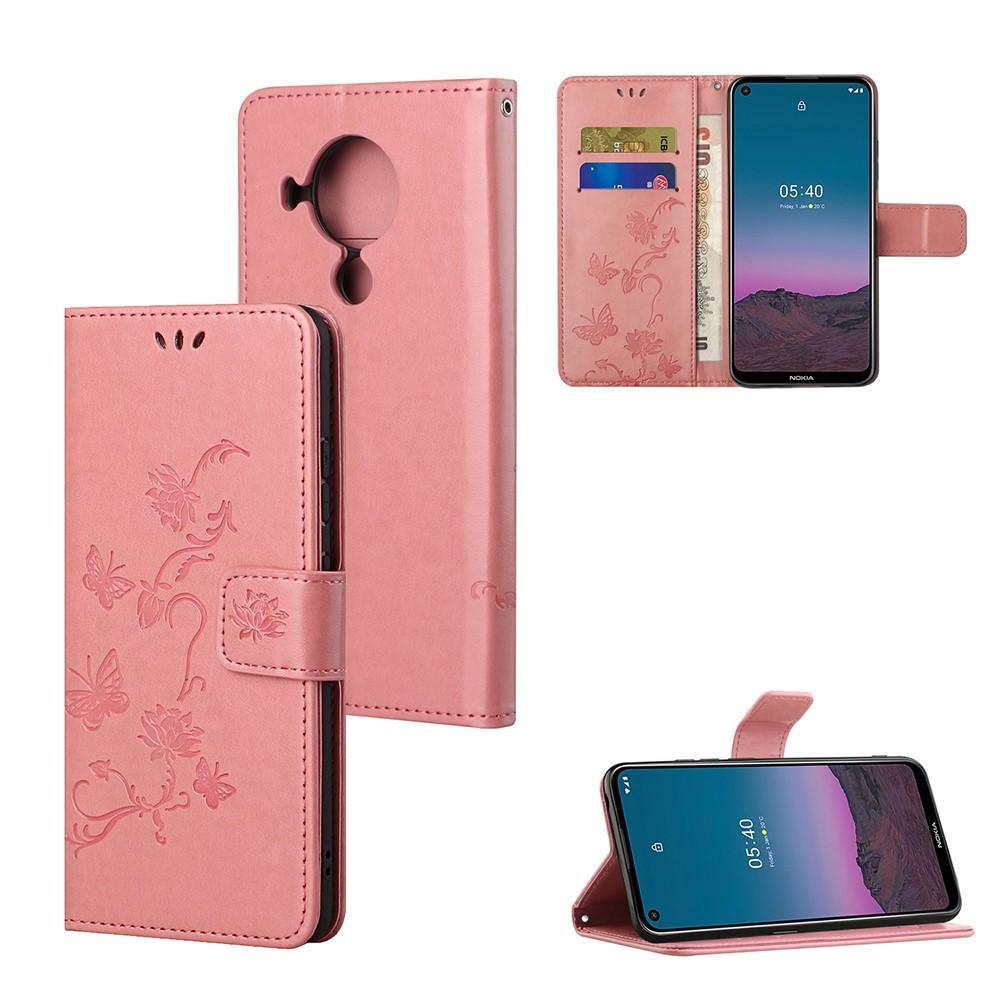 Läderfodral Fjärilar Nokia 5.4 rosa