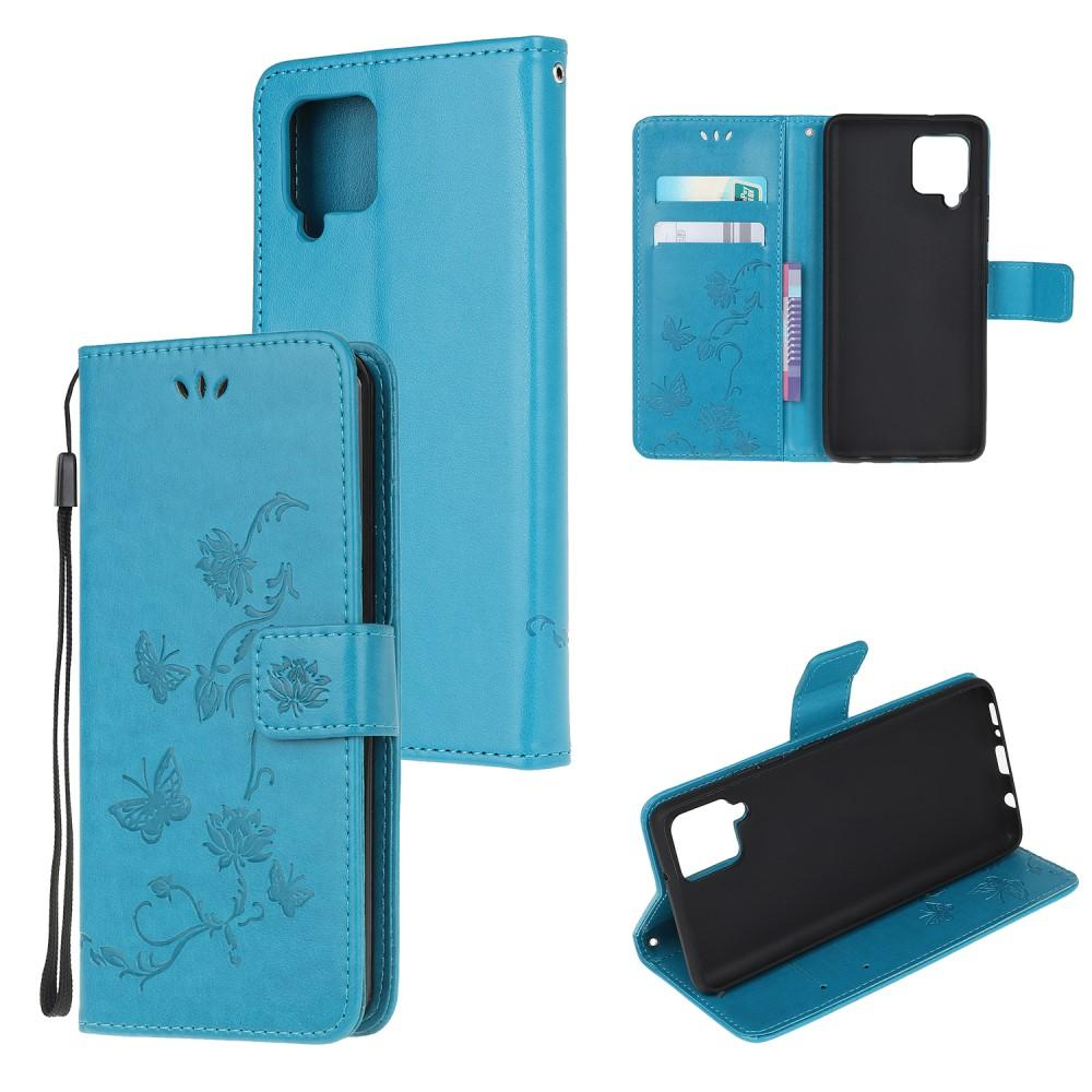 Läderfodral Fjärilar Samsung Galaxy A12 blå