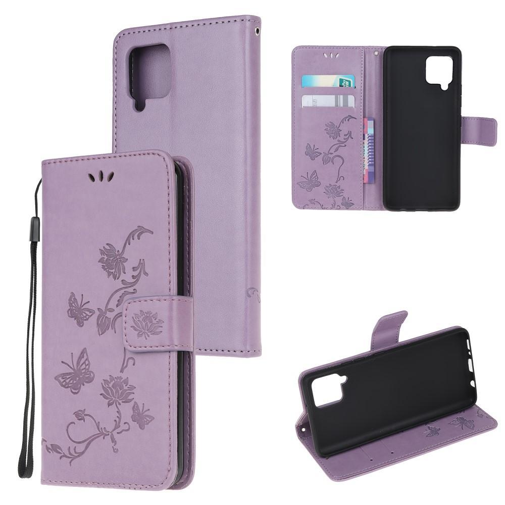 Läderfodral Fjärilar Samsung Galaxy A12 lila