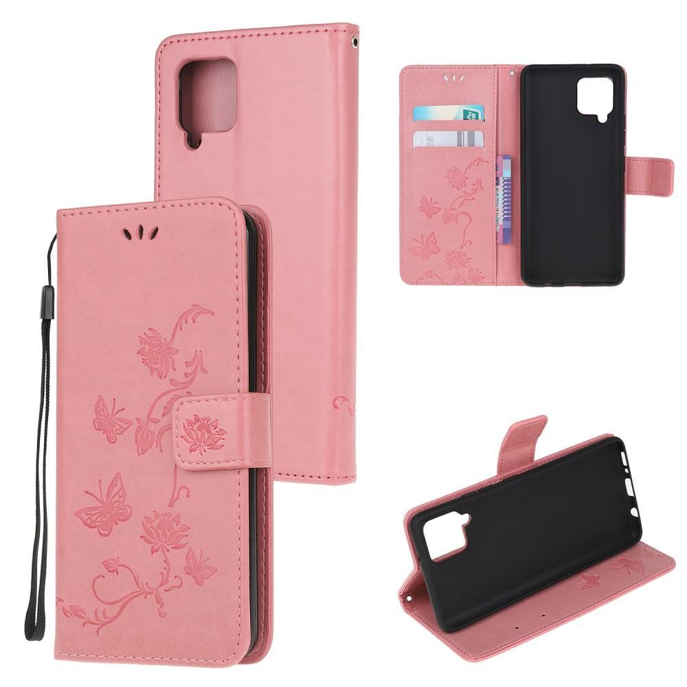 Läderfodral Fjärilar Samsung Galaxy A12 rosa
