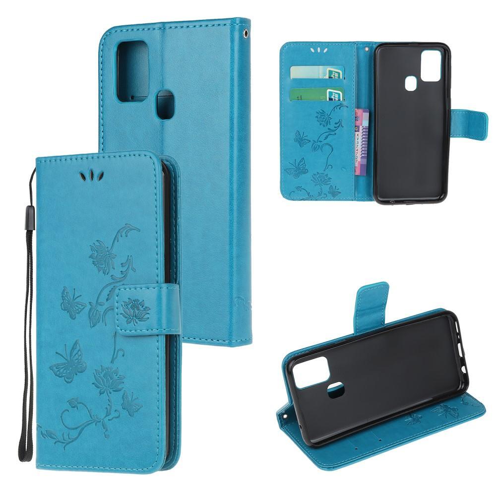 Läderfodral Fjärilar Samsung Galaxy A21s blå