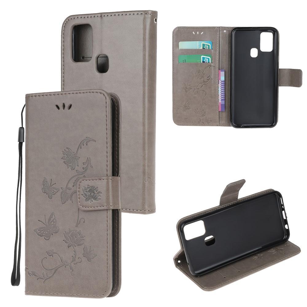 Läderfodral Fjärilar Samsung Galaxy A21s grå