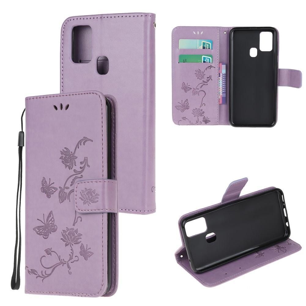 Läderfodral Fjärilar Samsung Galaxy A21s lila