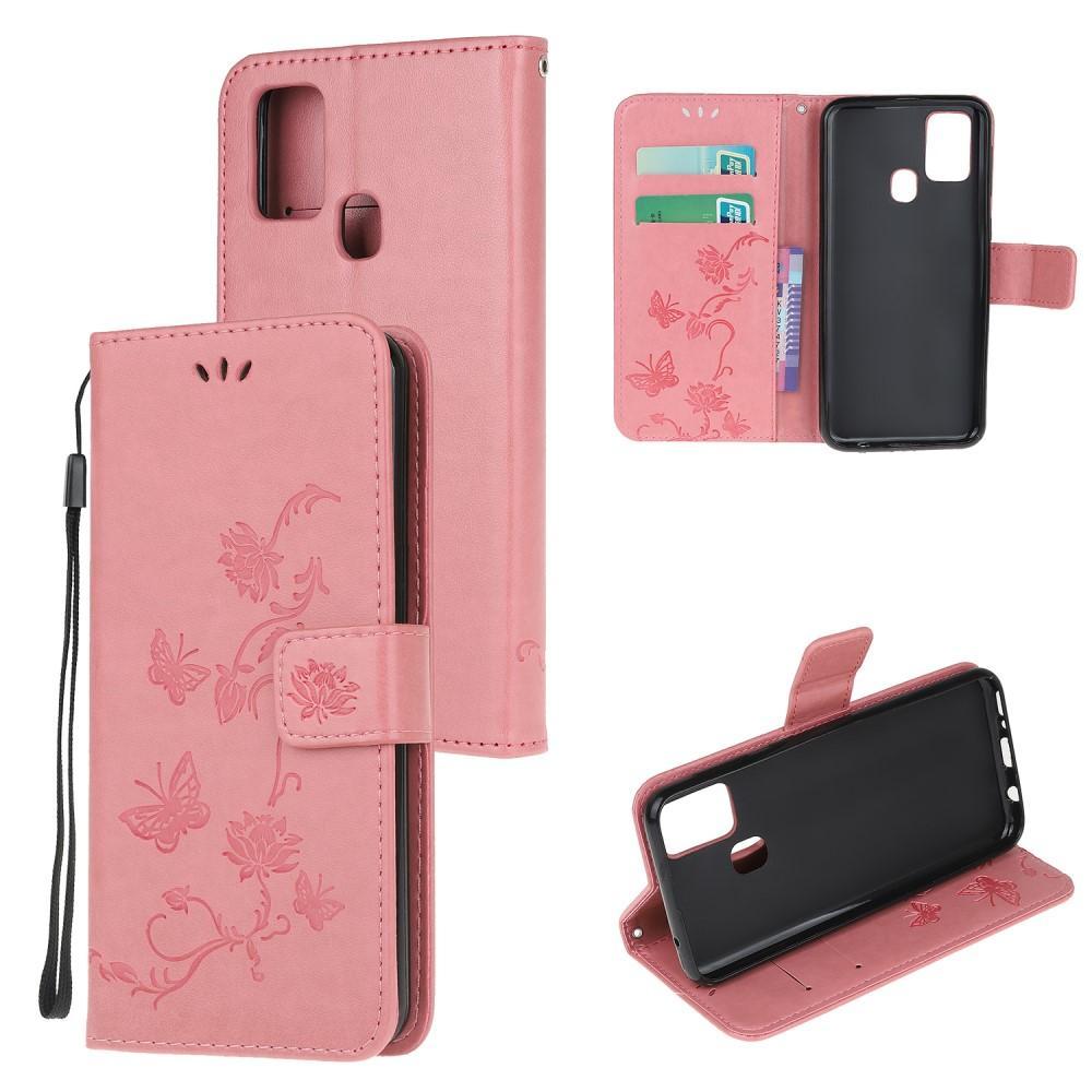 Läderfodral Fjärilar Samsung Galaxy A21s rosa